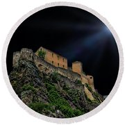 Moonlit Castle Round Beach Towel
