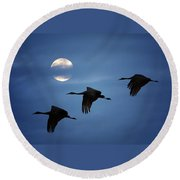Moonlit Flight Round Beach Towel