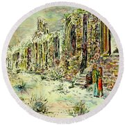 Moonlit Footsteps On Holy Ground Round Beach Towel by Alfred Motzer