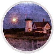 Moonlit Harbor Round Beach Towel