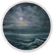 Moonlit Seascape Round Beach Towel