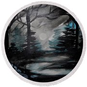 Moonlit Midnight Forest Round Beach Towel by Carol Crisafi