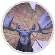 Moonlit Moose Round Beach Towel