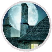 Moonlit Rooftops And Window Light  Round Beach Towel by Lee Avison