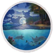 Moonlit Sanctuary Round Beach Towel by Al Hogue