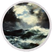 Moonlit Shipwreck At Sea Round Beach Towel