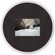 Moonlit Snow Round Beach Towel