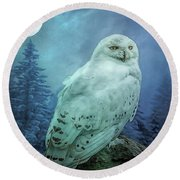 Moonlit Snowy Owl Round Beach Towel