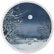 Moonlit Snowy Scene On The Farm Round Beach Towel