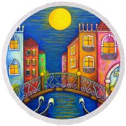 Moonlit Venice Round Beach Towel