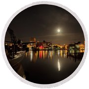 Moonlit Waterfront Round Beach Towel by Denis Lemay