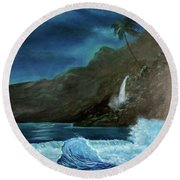 Moonlit Wave Round Beach Towel
