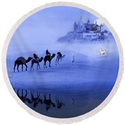 Moonrise At The Magical Oasis Round Beach Towel