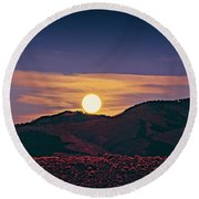 Moonrise In Northern New Mexico  Round Beach Towel