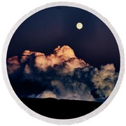 Moonrise In Taos Round Beach Towel