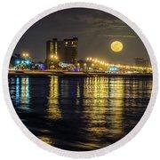 Moonrise Over Biloxi Round Beach Towel