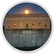 Moonrise Over Franklin Falls Dam Round Beach Towel