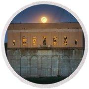 Moonrise Over Franklin Falls Dam Round Beach Towel