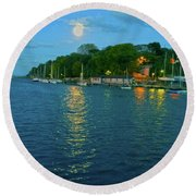 Round Beach Towel featuring the photograph Moonrise Over Nothe Fort by Anne Kotan
