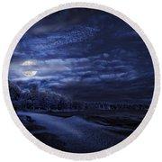 Moonrise Over Pymatuning Lake Round Beach Towel