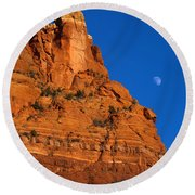 Moonrise Over Red Rock Round Beach Towel