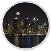 Moonrise Over San Diego Round Beach Towel