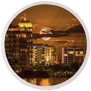Moonrise Over Sarasota Round Beach Towel