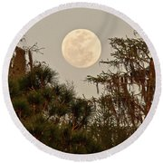Moonrise Over Southern Pines Round Beach Towel