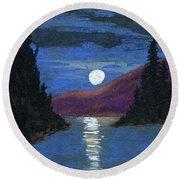 Moonrise Over Strait Round Beach Towel