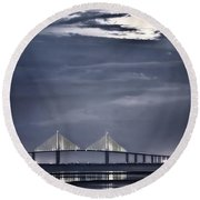Moonrise Over Sunshine Skyway Bridge Round Beach Towel