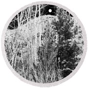 Round Beach Towel featuring the digital art Moonrise Over The Mountain by Will Borden