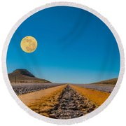 Moonrise Wyoming Round Beach Towel