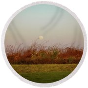 Moonscape Evening Shades Round Beach Towel