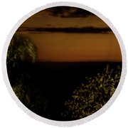 Round Beach Towel featuring the photograph Moonset At Bay Harbor by Onyonet  Photo Studios