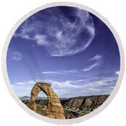 Moonset Delicate Arch Round Beach Towel