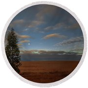 Moonset  In A Large Morning Sky Round Beach Towel