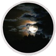 Moonset In The Clouds 2 Round Beach Towel