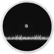Moonset Over Dia Round Beach Towel by Kristal Kraft
