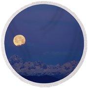 Moonset Over Mount Triglav In The Julian Alps Round Beach Towel