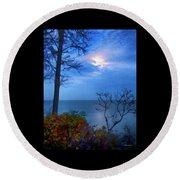 Moonset 1 Round Beach Towel
