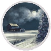 Round Beach Towel featuring the digital art Moonshine On The Snow by Lois Bryan