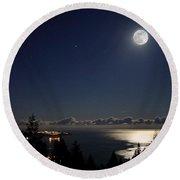 Moonshine Over English Bay Round Beach Towel