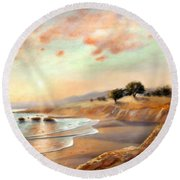 Round Beach Towel featuring the painting Moonstone Beach California by Michael Rock