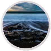 Moonstone Beach In The New Year Round Beach Towel