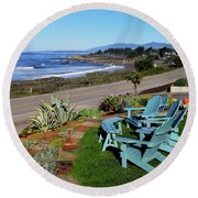 Round Beach Towel featuring the photograph Moonstone Beach Seat With A View by Barbara Snyder