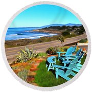 Round Beach Towel featuring the photograph Moonstone Beach Seat With A View Digital Painting by Barbara Snyder