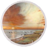 Moonstone Cambria Sunset Round Beach Towel