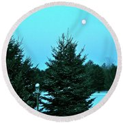 Round Beach Towel featuring the photograph Moony Blue by Randy Rosenberger