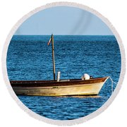 Moored Boat Round Beach Towel