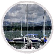 Moored In Beauty Round Beach Towel
